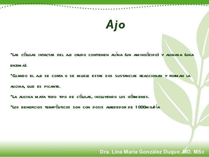 Ajo <ul><li>Las células intactas del ajo crudo contienen aliína (un aminoácido) y aliinasa (una enzima).  </li></ul><ul><l...