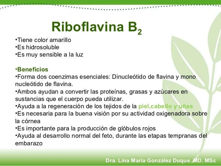 Riboflavina B 2 <ul><li>Tiene color amarillo </li></ul><ul><li>Es hidrosoluble </li></ul><ul><li>Es muy sensible a la luz ...
