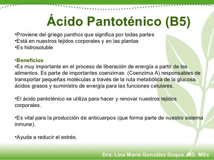 Ácido Pantoténico (B5) <ul><li>Proviene del griego  panthos  que significa por todas partes </li></ul><ul><li>Está en nues...