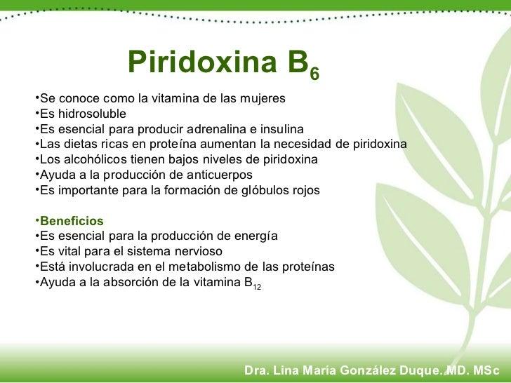 Piridoxina B 6 <ul><li>Se conoce como la vitamina de las mujeres </li></ul><ul><li>Es hidrosoluble </li></ul><ul><li>Es es...