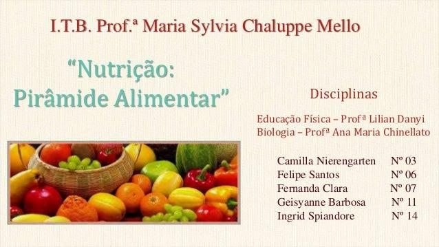 I.T.B. Prof.ª Maria Sylvia Chaluppe Mello Camilla Nierengarten Nº 03 Felipe Santos Nº 06 Fernanda Clara Nº 07 Geisyanne Ba...