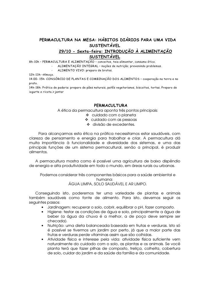 PERMACULTURA NA MESA: HÁBITOS DIÁRIOS PARA UMA VIDA                            SUSTENTÁVEL               29/10 - Sexta-fei...