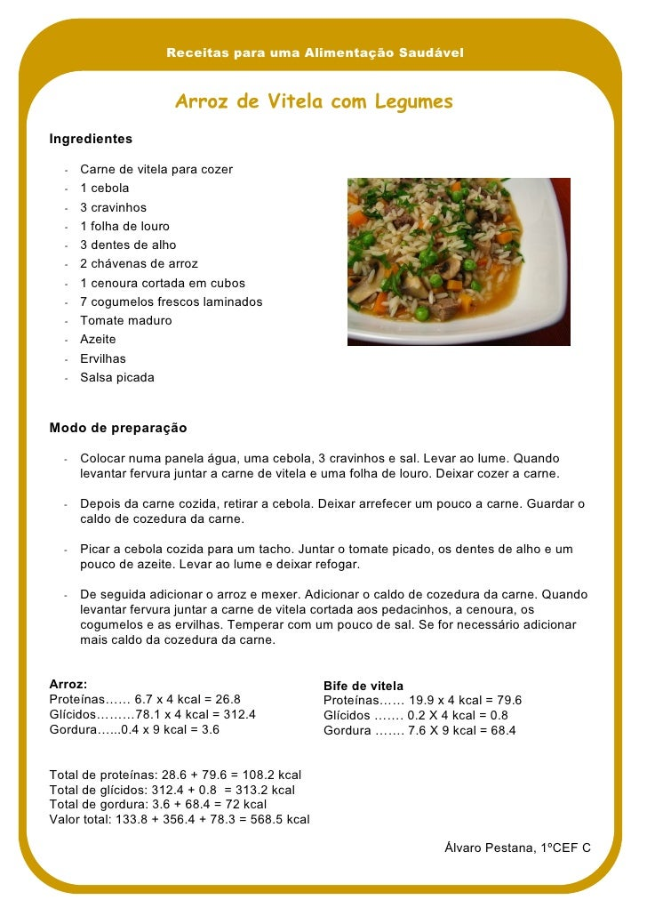 Receitas para uma Alimentação Saudável                         Arroz de Vitela com Legumes Ingredientes    ‐   Carne de vi...