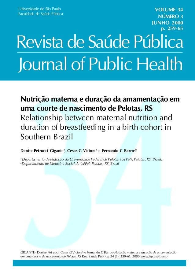Journal of Public Health Universidade de São Paulo Faculdade de Saúde Pública VOLUME 34 NÚMERO 3 JUNHO 2000 Revista de Saú...