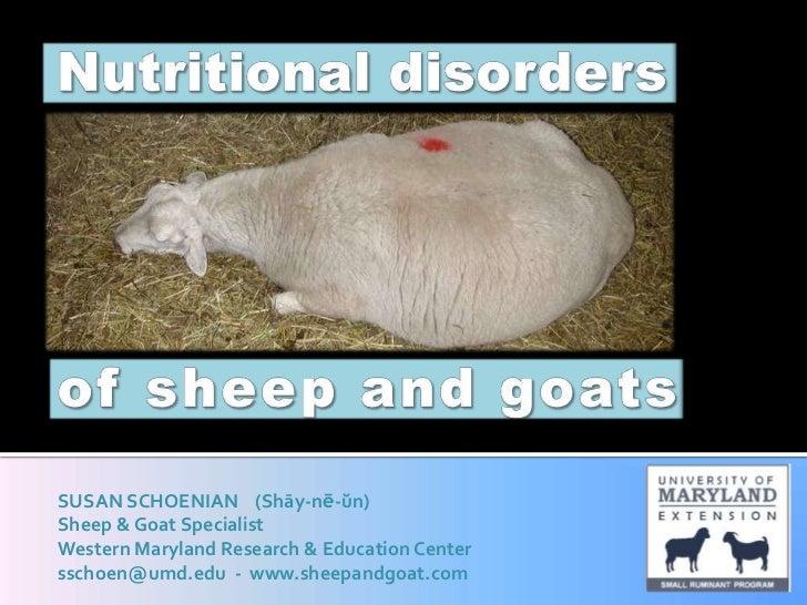 SUSAN SCHOENIAN (Shāy-nē-ŭn)Sheep & Goat SpecialistWestern Maryland Research & Education Centersschoen@umd.edu - www.sheep...