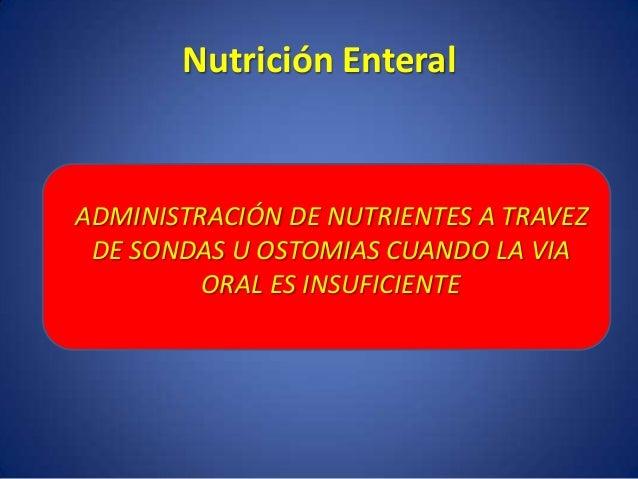 Suplir requerimientos Disminuir Catabolismo Intervenir en la cura de la enfermedad Objetivos de la Nutrición Enteral