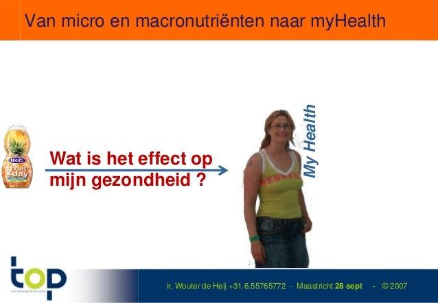 Van micro en macronutriënten naar myHealth                                                     My Health  Wat is het effec...
