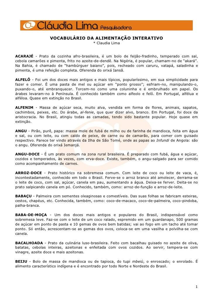 VOCABULÁRIO DA ALIMENTAÇÃO INTERATIVO                                          * Claudia Lima   ACARAJÉ - Prato da cozinha...