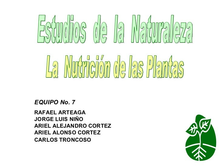 Estudios  de  la  Naturaleza La  Nutrición de las Plantas EQUIPO No. 7  RAFAEL ARTEAGA JORGE LUIS NIÑO  ARIEL ALEJANDRO CO...