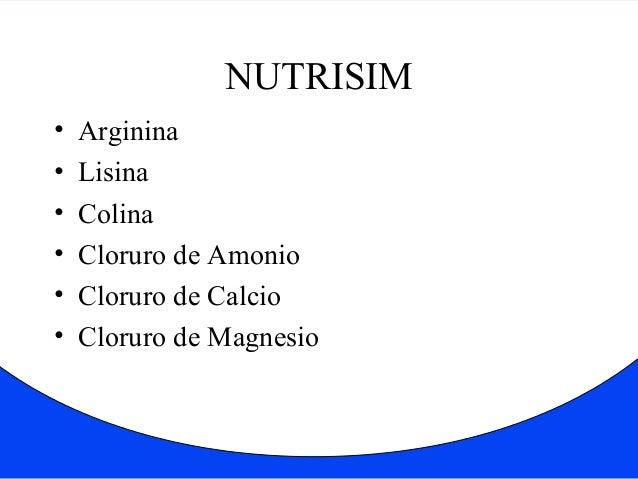 NUTRISIM  • Arginina  • Lisina  • Colina  • Cloruro de Amonio  • Cloruro de Calcio  • Cloruro de Magnesio
