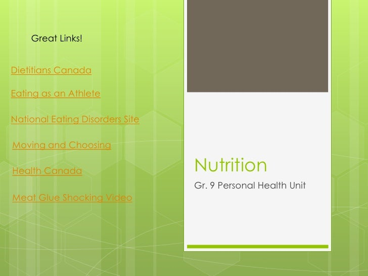 Great Links!Dietitians CanadaEating as an AthleteNational Eating Disorders SiteMoving and ChoosingHealth Canada           ...