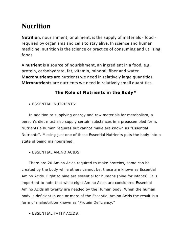 NutritionNutrition, nourishment, or aliment, is the supply of materials - food -required by organisms and cells to stay al...