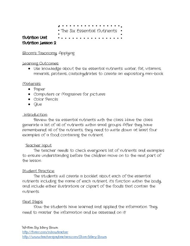 The Six Essential Nutrients: Lesson Plan And Worksheet