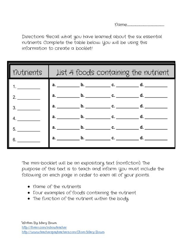 nutrition worksheets for highschool students  Termolak