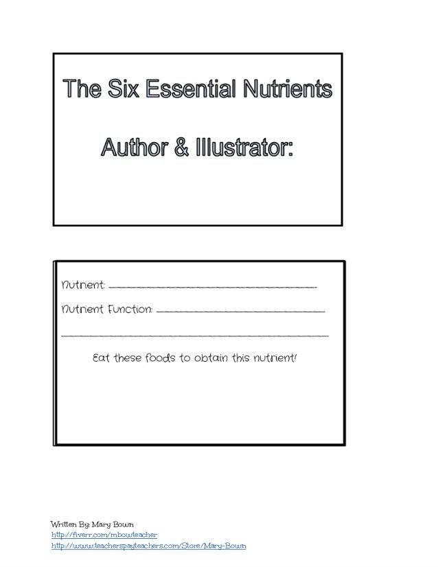 Six Essential Nutrients by Jen Tokos   Teachers Pay Teachers