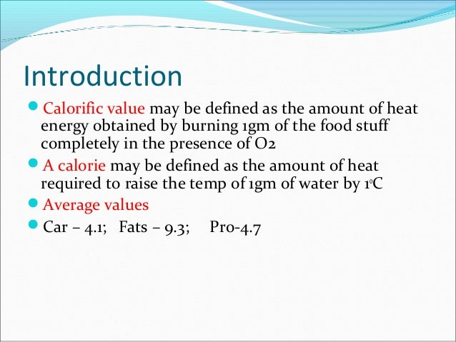 calorific value of food pdf