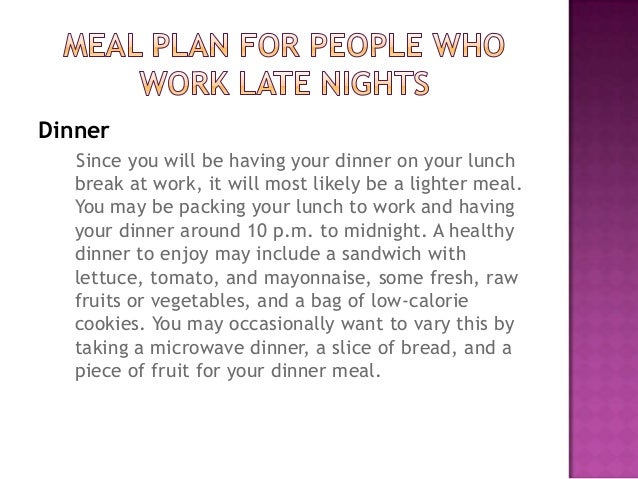 Diet Plan Night Shift Workers