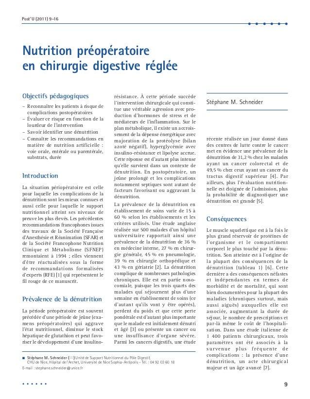 9  Post'U (2011) 9-16  • • • • • •  Nutrition préopératoire  en chirurgie digestive réglée  Objectifs pédagogiques  – Reco...