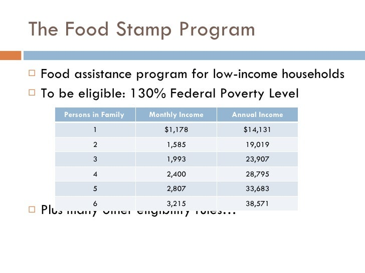 Limit For Food Stamps Ca