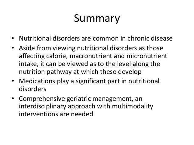 Nutritional disorders in chronic diseases