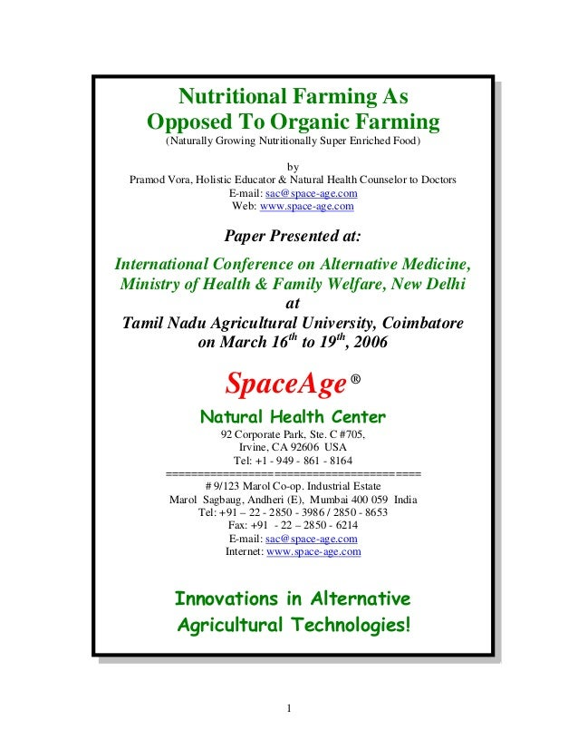 Nutritional Farming As Opposed To Organic Farming (Naturally Growing Nutritionally Super Enriched Food) by Pramod Vora, Ho...