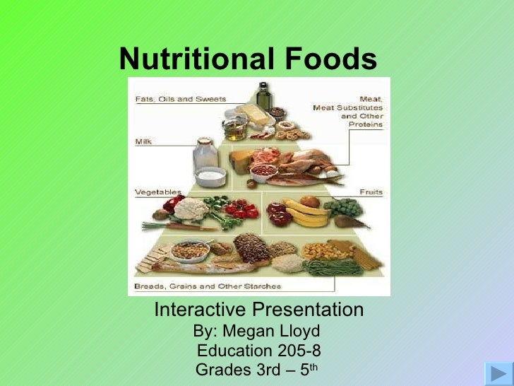 Nutritional Foods   Interactive Presentation By: Megan Lloyd  Education 205-8 Grades 3rd – 5 th