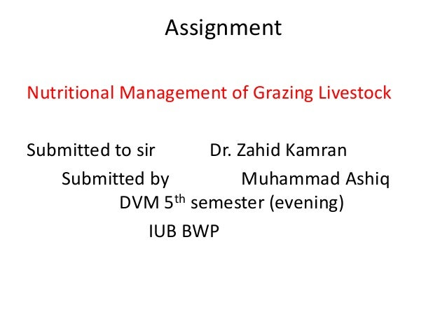 Assignment Nutritional Management of Grazing Livestock Submitted to sir Dr. Zahid Kamran Submitted by Muhammad Ashiq DVM 5...