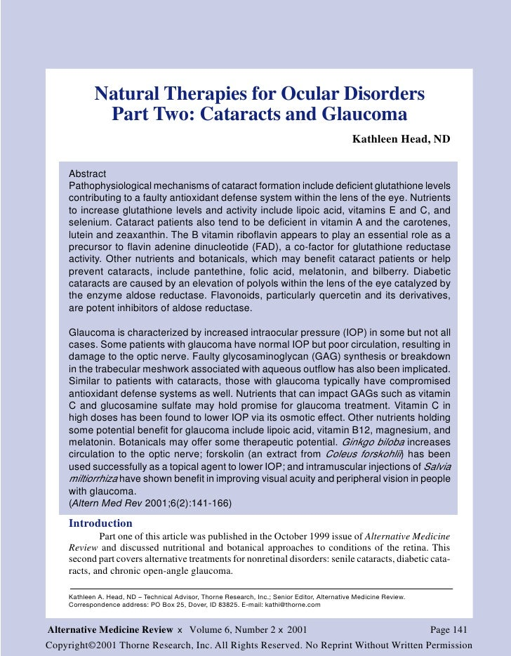 Natural Therapies for Ocular Disorders              Part Two: Cataracts and Glaucoma                                      ...