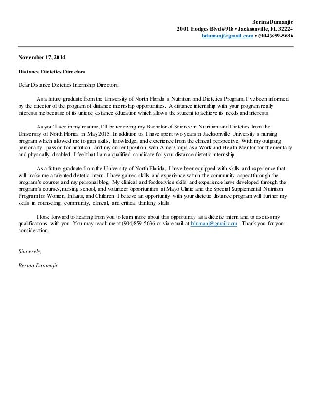 Nutrition and Dietetics Internship Cover Letter – Internship Cover Letters