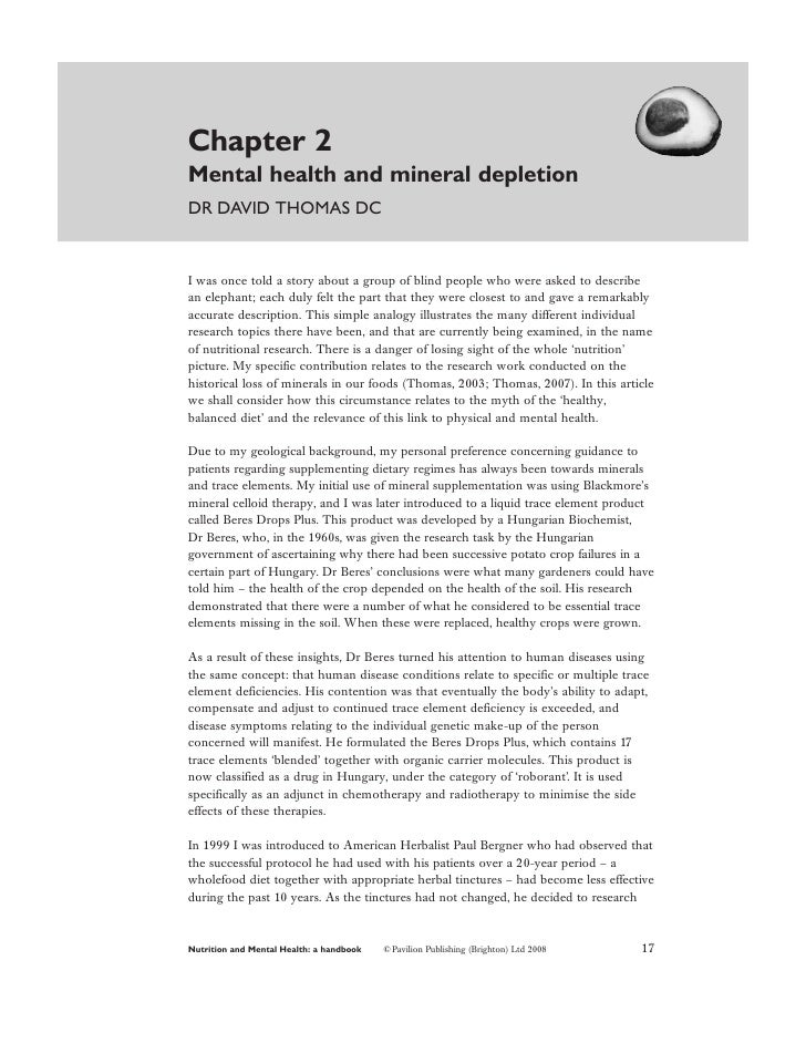 Chapter 2Mental health and mineral depletionDR DAVID THOMAS DCI was once told a story about a group of blind people who we...
