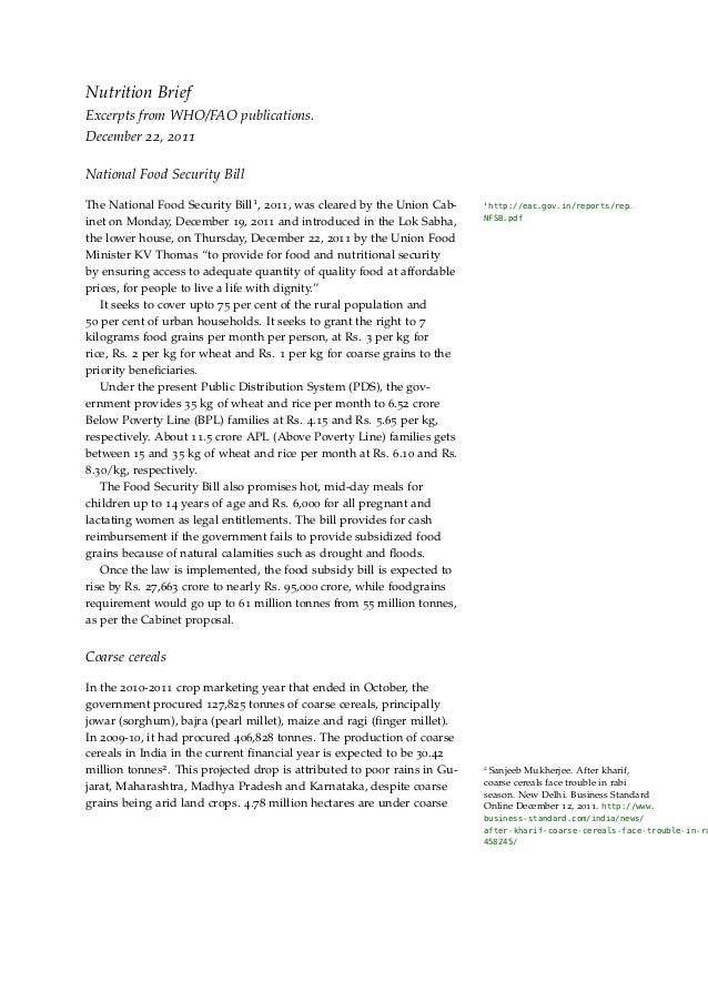 Nutrition BriefExcerpts from WHO/FAO publications.December 22, 2011National Food Security BillThe National Food Security B...