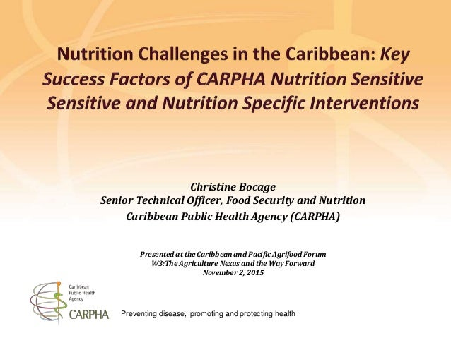 Preventing disease, promoting and protecting health Christine Bocage Senior Technical Officer, Food Security and Nutrition...
