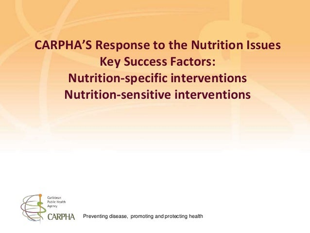 Preventing disease, promoting and protecting health CARPHA'S Response to the Nutrition Issues Key Success Factors: Nutriti...