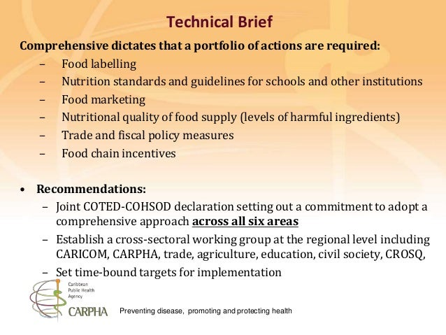 Preventing disease, promoting and protecting health Technical Brief Comprehensive dictates that a portfolio of actions are...