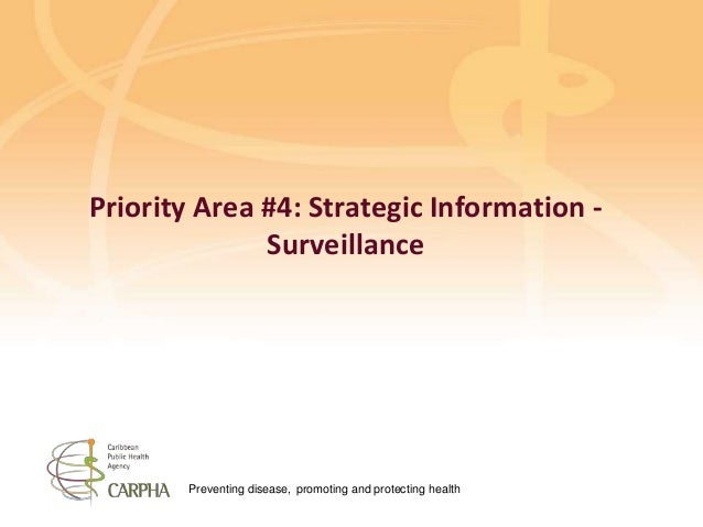Preventing disease, promoting and protecting health Priority Area #4: Strategic Information - Surveillance
