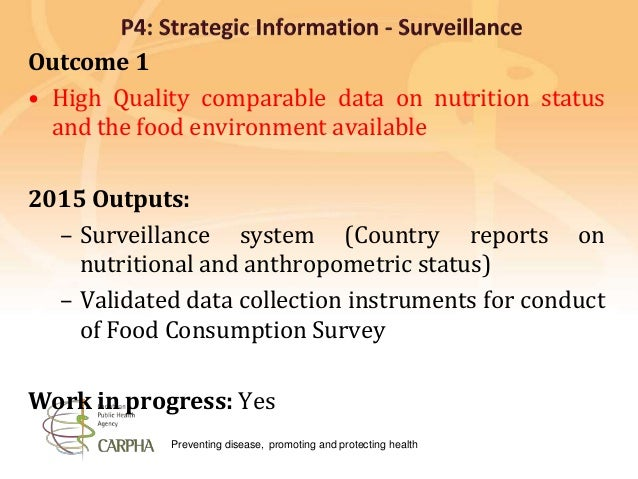 Preventing disease, promoting and protecting health Outcome 1 • High Quality comparable data on nutrition status and the f...