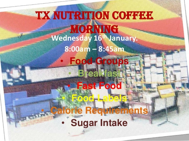 TX Nutrition Coffee     morning           th  Wednesday 16 January.    8:00am – 8:45am    • Food Groups      • Breakfast  ...
