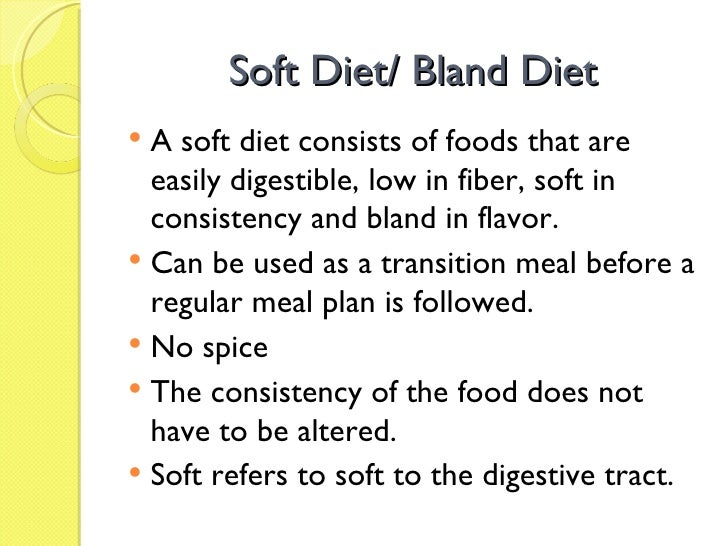 Foods On A Soft Bland Diet