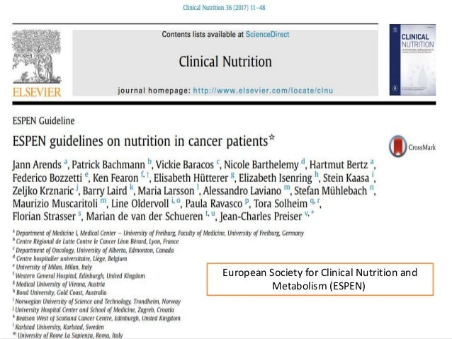 103 European Society for Clinical Nutrition and Metabolism (ESPEN)