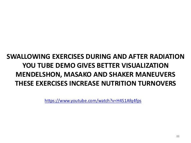 SWALLOWING EXERCISES DURING AND AFTER RADIATION YOU TUBE DEMO GIVES BETTER VISUALIZATION MENDELSHON, MASAKO AND SHAKER MAN...