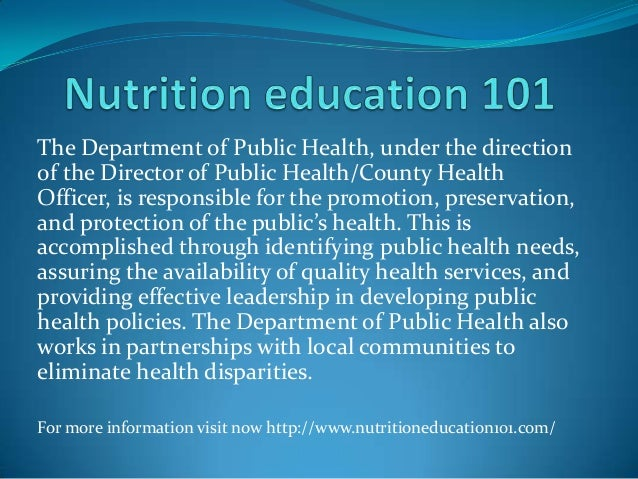 The Department of Public Health, under the direction of the Director of Public Health/County Health Officer, is responsibl...