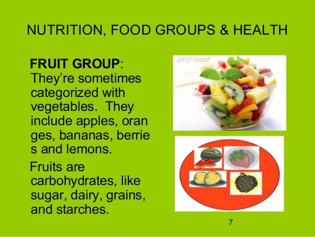 Nutrition, food groups and health