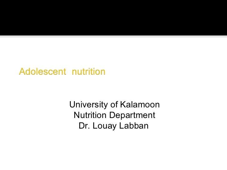University of Kalamoon Nutrition Department  Dr. Louay Labban