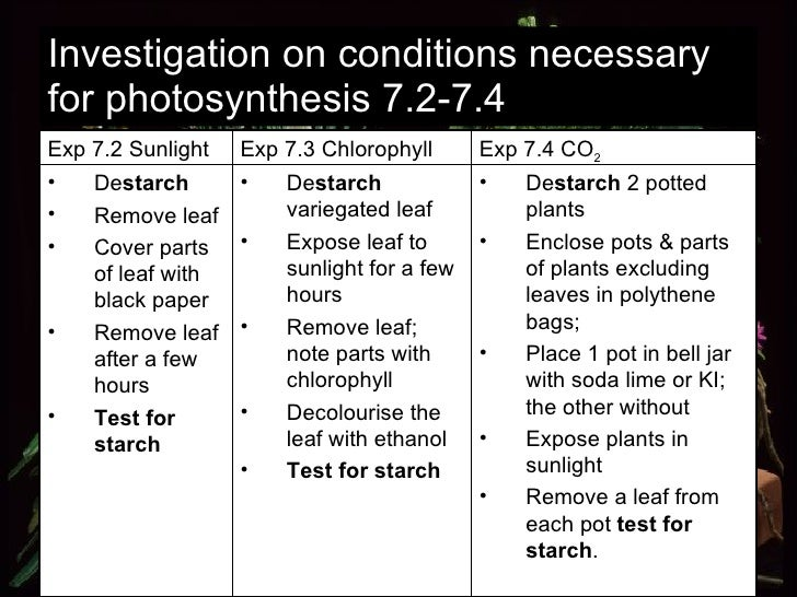 Investigation on conditions necessary for photosynthesis 7.2-7.4 <ul><li>De starch  2 potted plants </li></ul><ul><li>Encl...