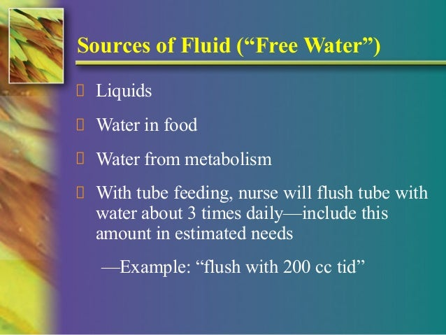 what is free water in tube feeding