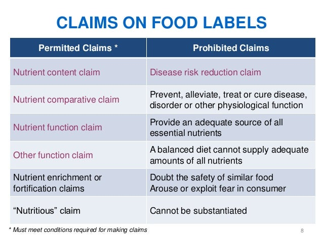 Health Claims On Food Labels Examples