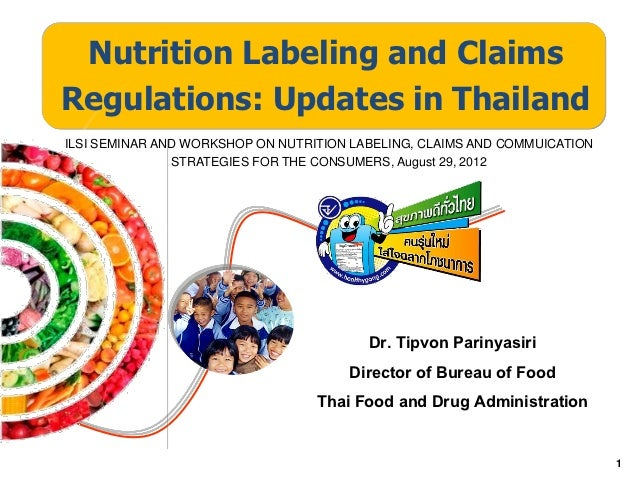 Nutrition Labeling and ClaimsRegulations: Updates in ThailandILSI SEMINAR AND WORKSHOP ON NUTRITION LABELING, CLAIMS AND C...