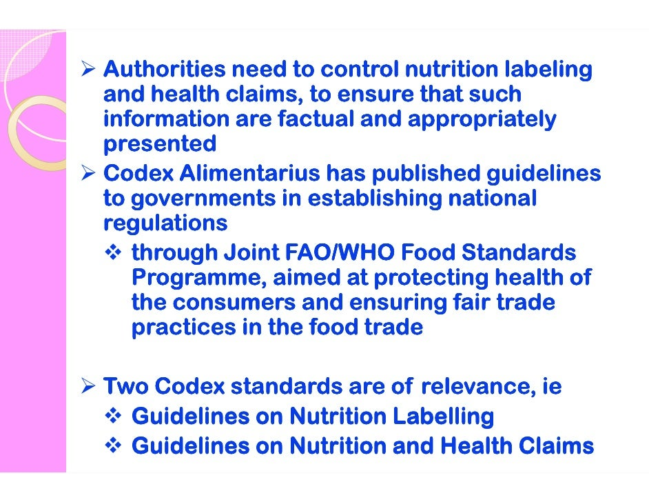 codex guidelines on nutrition labelling