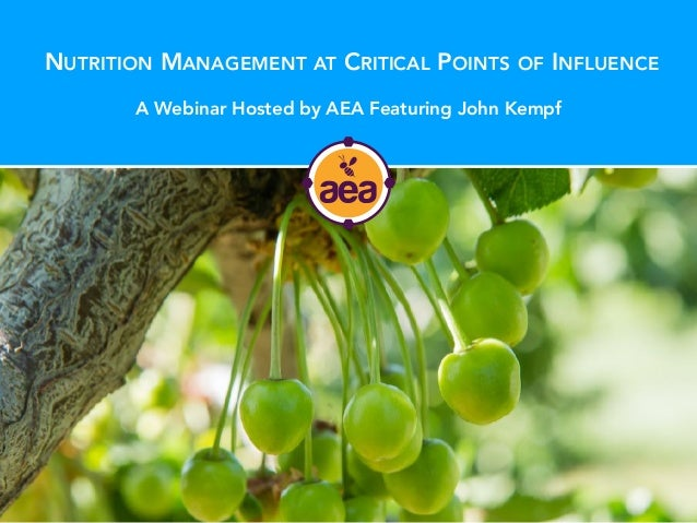 NUTRITION MANAGEMENT AT CRITICAL POINTS OF INFLUENCE A Webinar Hosted by AEA Featuring John Kempf