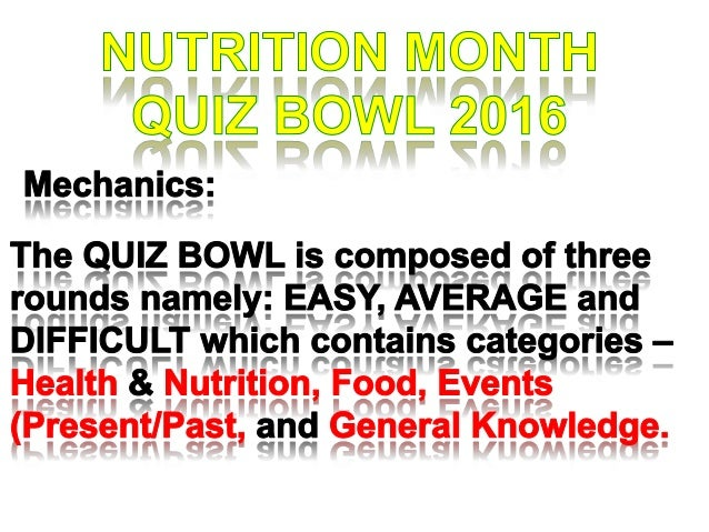 Nutrition month quiz ball 2016